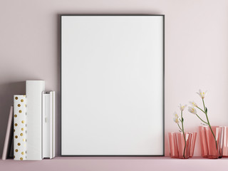 Mock up poster frame on minimalism rose wall, 3d render, 3d illustration