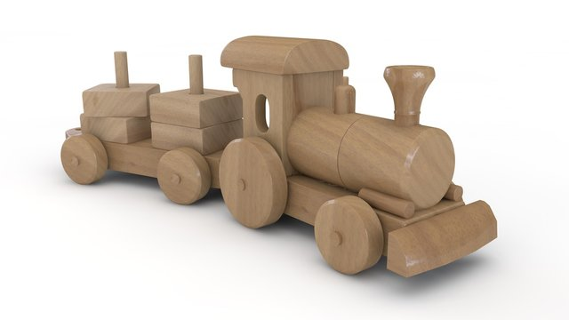 3D illustration of wooden toy locomotive, made of wooden elements of children's designer. The idea of childhood, simplicity, genius. Image isolated on white background