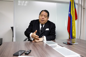 National Constituent Assembly member Hermann Escarra gestures as he speaks during an interview with Reuters in Caracas