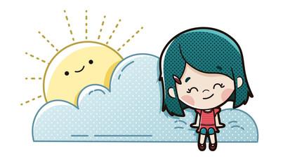 Niño imaginando sentado en una nube