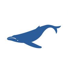 Blue humpback whale silhouette