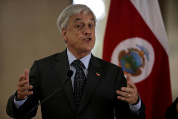 Chile's President Sebastian Pinera attends a news conference at the Presidential house in San Jose