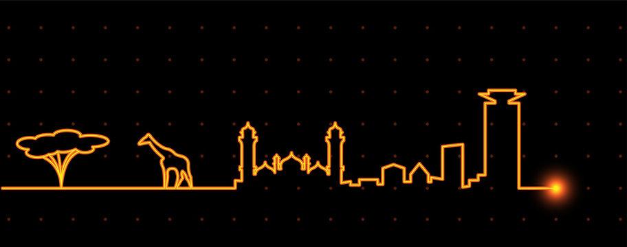 Nairobi Light Streak Skyline