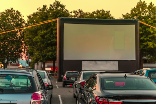parking with an inflatable screen of a summer cinema
