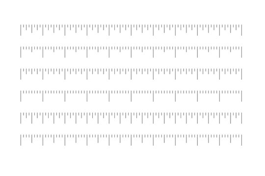 Set of horizontal rulers - lenght and size indicators distance units divided in quaters. Vector illustration.