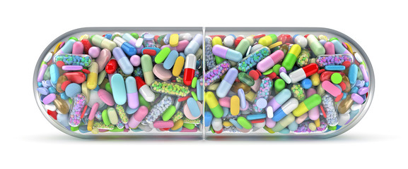 Large pill filled with colorful pills - 3d render
