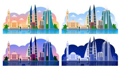 Manama. Bahrain, horizontal panoramic view. Day and night, dawn and sunset. Vector illustration