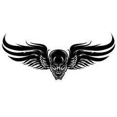 Winged evil, black skull on a white background