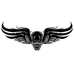 Winged evil, black skull on a white background