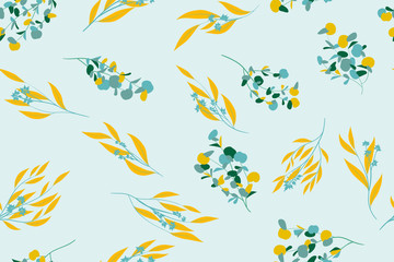 Floral Seamless Pattern in Pastel Color Design. Vector Eucalyptus Leaves and Beautiful Blossom Elements. Botanical Summer Background. Floral Seamless Pattern for Wedding Design, Print, Textile, Fabric