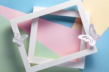 Photo frame on pastel paper
