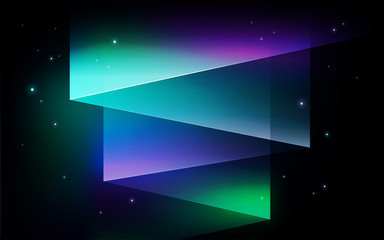 Northern Lights, aurora borealis abstract vector background - Aurora borealis Northern lights. Shining green, purple lights in starry sky illustration