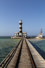 The tower of the lighthouse on the Daedalus reef in the Red Sea, Egypt