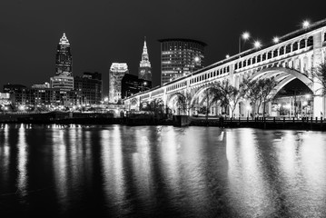 Wall Mural - The Cleveland skyline at night, from Heritage Park, in Cleveland, Ohio