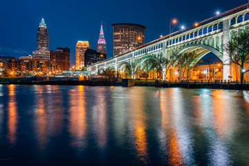 The Cleveland skyline and Detroit-Superior Bridge at night, in Cleveland, Ohio