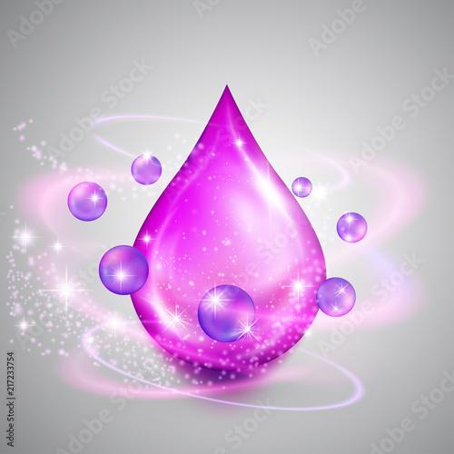 Falling Drop Of Purple Oil With Shiny Winds Precious Liquid Skin