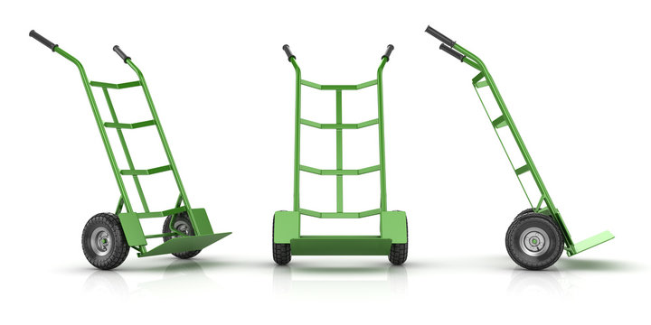 Green and Empty Hand Truck