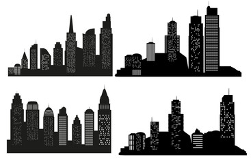Set of vector city silhouette with on white background. Vector Illustration