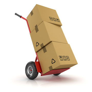 Hand Truck and Cardboard Package