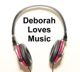 Deborah Loves Music Headphone Graphic Original Design