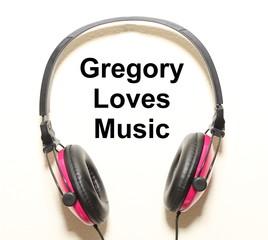 Gregory Loves Music Headphone Graphic Original Design