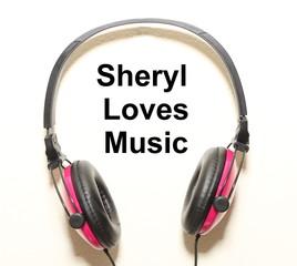 Sheryl Loves Music Headphone Graphic Original Design