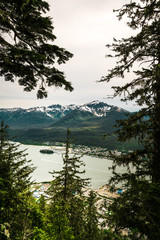 Juneau Alaska looking at bay from mountain
