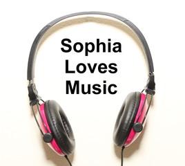 Sophia Loves Music Headphone Graphic Original Design