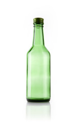 green soju bottle isolated white