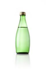 green soda bottle isolated white.
