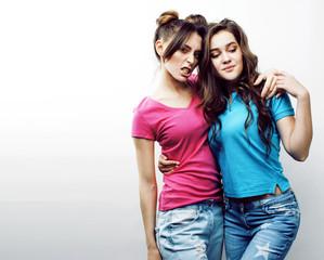 best friends teenage girls together having fun, posing emotional