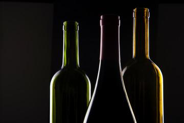 wine empty bottle isolated black.