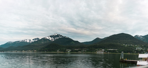 View of the bay in Juneau Alaska with mountains and water