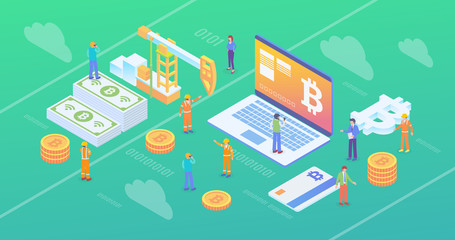 Bitcoin Crypto Currency Blockchain Mining Site Isometric Composition Background Wallpaper With People and Digital Related Asset Illustration