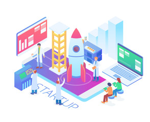 Modern Isometric Technology Startup Product Launch Illustration in White Isolated Background