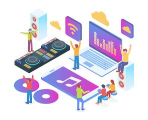 Modern Isometric Online Music Player Entertainment Technology Illustration Concept