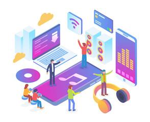Modern Isometric Smart Online Music Entertainment Technology Illustration in White Isolated Background