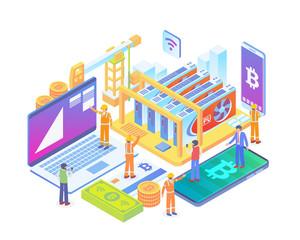 Modern Isometric GPU Bitcoin Mining Rig Technology Illustration Concept