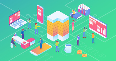 Ultra HD Resolution Technology Startup Company Isometric Composition Background With People and Digital Related Asset Illustration