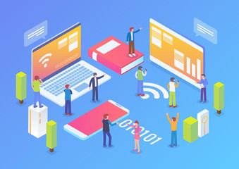 Technology Startup Isometric Composition Background With People and Digital Related Asset Illustration