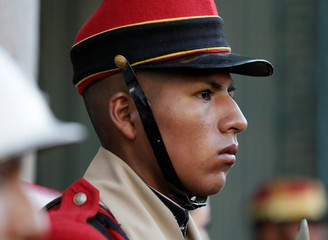 """A member of the presidential guards is seen before the inauguration of the new Bolivia's presidential palace named """"La Casa Grande del Pueblo"""" in La Paz"""