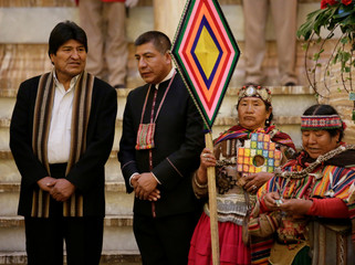 "Bolivia's President Morales and Foreign Minister Huanacuni attend a ceremony at the old presidential palace before the inauguration the new Bolivia's presidential palace named ""La Casa Grande del Pueblo"" in La Paz"