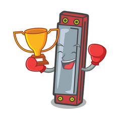 Boxing winner harmonica mascot cartoon style