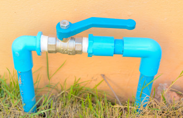 valve plastic and faucet in the garden.