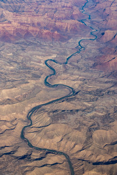 Aerial view of Green River emerging from Utah's Desolation Canyon