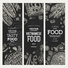 Vietnamese food banner collection. Linear