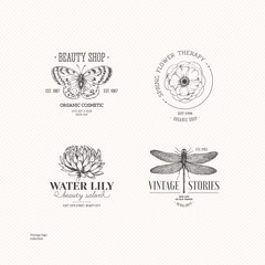 Vintage logo collection. Engraved logo