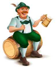Beer Festival Oktoberfest. Man sits on wooden barrel and drinks beer