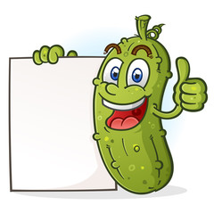 A happy green pickle cartoon Character giving a thumbs up and holding a white sign placard