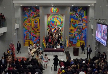 "A view of inauguration ceremony of the new Bolivia's presidential palace named ""La Casa Grande del Pueblo"" in La Paz"